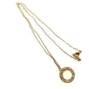 gold tone CZ diamond circle necklace